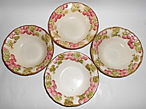 Metlox Pottery Poppy Trail Vintage Pink 4 Fruit Bowls