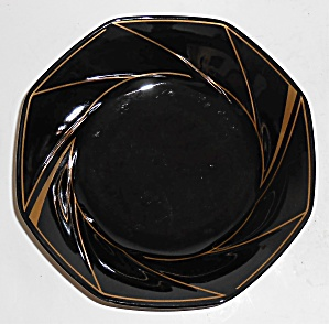 Ranmaru Porcelain China Crystalline Black W/gold Soup