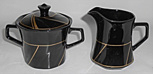 Ranmaru Porcelain China Crystalline Black W/gold Cr/sug