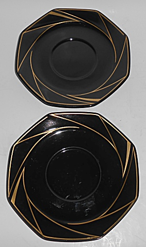 Ranmaru Porcelain China Crystalline Black W/gold Pair S