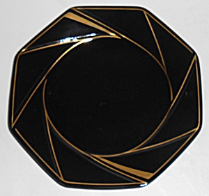 Ranmaru Porcelain China Crystalline Black W/gold Bread