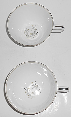Noritake Porcelain China 5772 Ardis Platinum Pair Cups