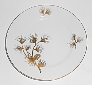 Kutani Japan China Porcelain Gold Pine Cones / Needles