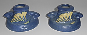 Roseville Pottery Freesia Blue #1160-2 Pair Candle