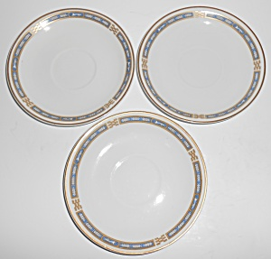 Syracuse China Blue Mistic W/gold Set/3 Saucers