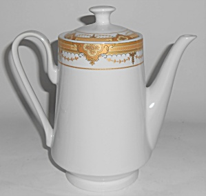 Pegasus Porcelain China Gold Decorated Coffee Pot