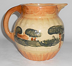 Roseville Pottery Early Landscape Decorated Pitcher