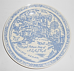 Vernon Kilns Pottery Alaska Picture Map State Plate