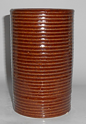 Zanesville Stoneware Pottery Homespun Ring Brown Vase