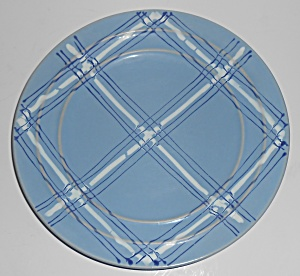 Pacific Pottery Hostess Ware Lt Blue Plaid Decorated Pl