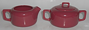Coors Pottery Rock-mount Red Creamer & Sugar Bowl Set