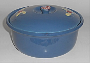 Coors Pottery Rosebud Blue 2 Pt Straight Casserole Robe