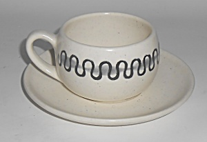 Metlox Pottery Poppy Trail Aztec Cup & Saucer Set