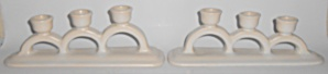 Pacific Pottery Matte White Pair Triple Candlesticks