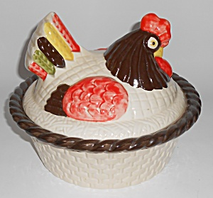 Metlox Poppytrail Pottery Red Rooster Covered Vegetable