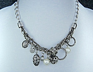 Costume Necklace Faux Pearls And Rhinestone