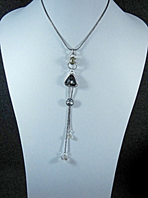 Costume Jewelry Grey Glass Drop Bling Necklace