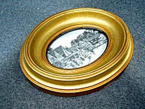 Oval Framed Picture - Pangbourne England