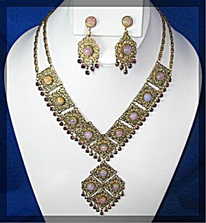 Filigree Glass Opal And Amethyst Crystal Necklace Earr