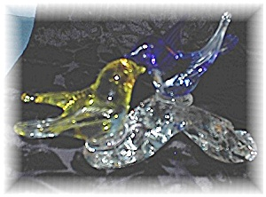 Glass Yellow And Blue Birds On Log