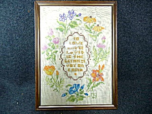 Cross Stitch Love Framed Dated 1979