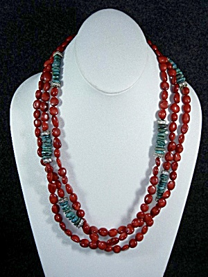 Red Coral Turquoise Rhinestone 3 Strand Necklace