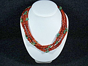 Orange Coral And Turquoise Designer 5 Strand Necklace