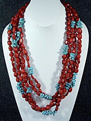 Red Coral Turquoise 5 Strand Necklace