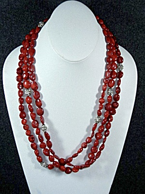 Red Coral, Rhinestone 3 Strand Necklace