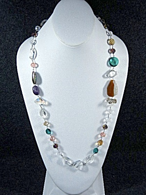 Necklace, Crystal, Agate, Abalone, Amethyst