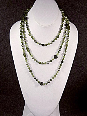Necklace, Costume Green Glass Beads Faux Pearls
