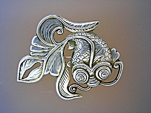 Sterling Silver Swirling Fish Brooch Marked Hk Fd
