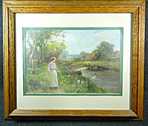 Framed, Artist Signed Print Lady By Stream With Ducks