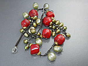 Coral Green Freshwater Pearls Necklace Lobster Clasp