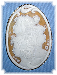 Brooch 14k Gold Shell 3 Faces Cameo