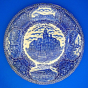 Collector Plate Los Angles California Flow Blue England