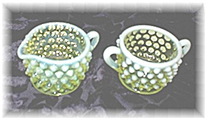 Palest Yellow Green Hobnail Vaseline Glass
