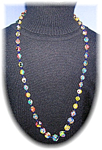 Italian Glass Millafiore Multi Color Necklace