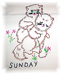 7 Hand Embroidered Kitty Kat Tea Towels