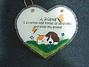 Heart Shaped Plaque With Dog And Cat