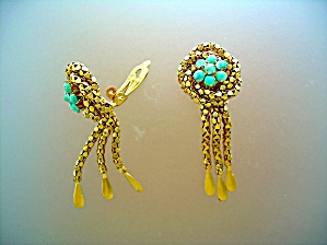 Earrings Gold And Turquoise Tassle Clip