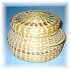 American Indian Papago Basket With Lid
