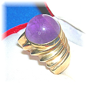 Ring 14k Yellow Gold Cabochon Amethyst