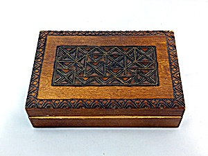 Carved Wooden Box Hinged With Brass Inlay