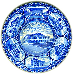 Flow Blue Staffordshire Souvenir Plate Kansas City