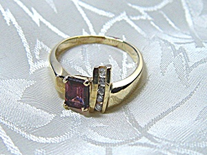 Ring 14k Gold Amethyst/garnet And Diamond