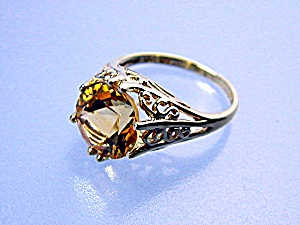 Ring 14k Gold Filigree 5ct Golden Citrine