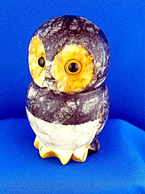 Alabaster Owl Hand Carved Made In Italy 4 Inches Tall
