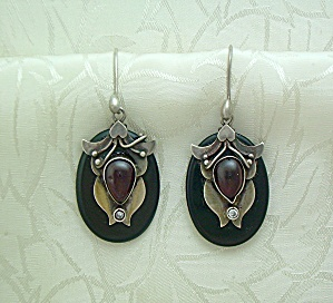 Sterling Silver Cabochon Garnet Jet Glass Earrings