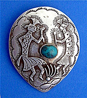 Sterling Silver Turquoise Kokopelli Dancers Pendant
